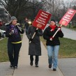 Elementary teachers picket outside of GDCI in Goderich, a Grade 7 to 12 public school in the Avon Maitland district.