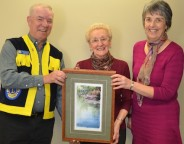 members of the organizing committee, Larry Wein of the Exeter Lions Club and community volunteer Janet Clarke, presented Louise Rether-Kopp with her prize at Morrison Dam Conservation Area east of Exeter on Thursday, Feb. 28.